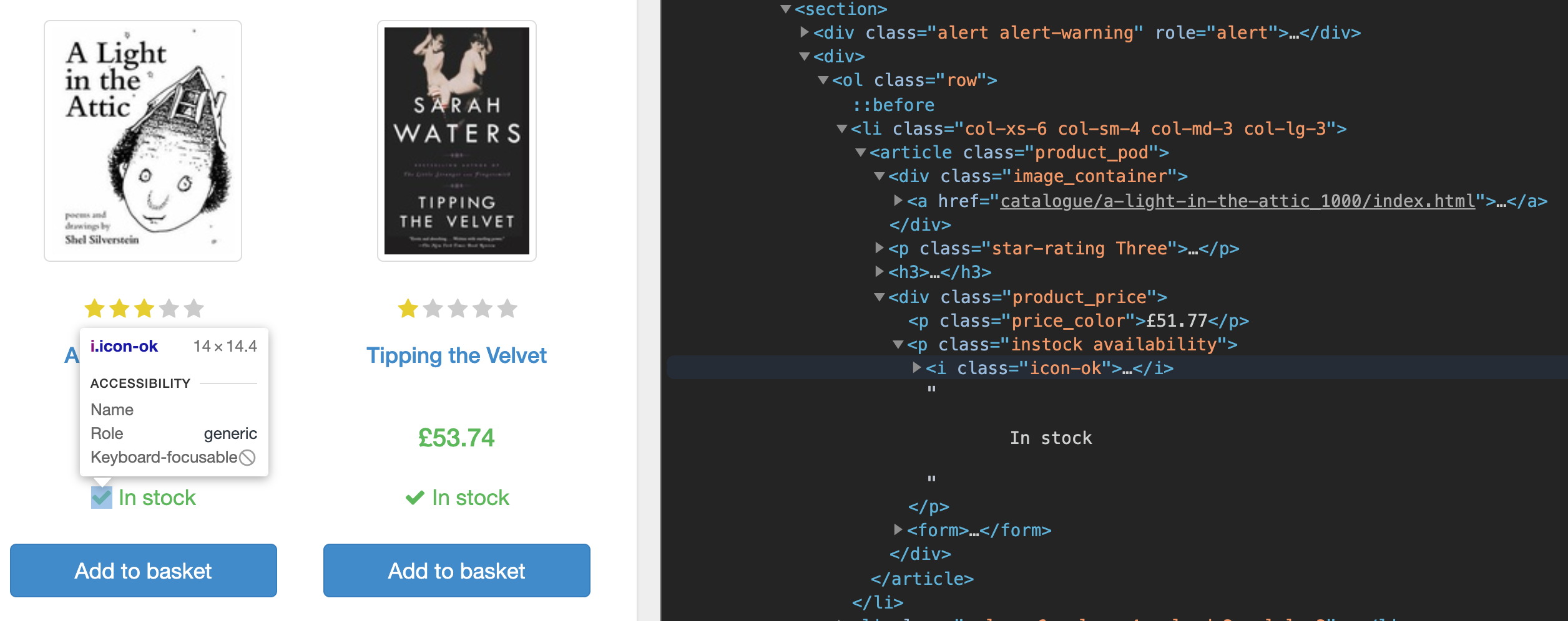 Vista del código fuente de books.to.scrape con herramientas de desarrollo