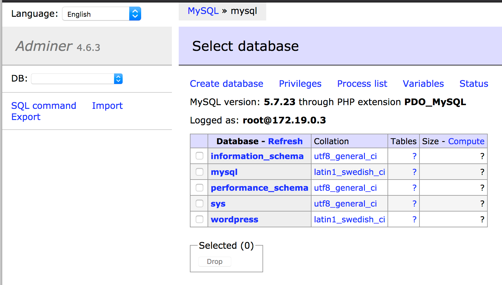 Adminer connected to the MySQL database