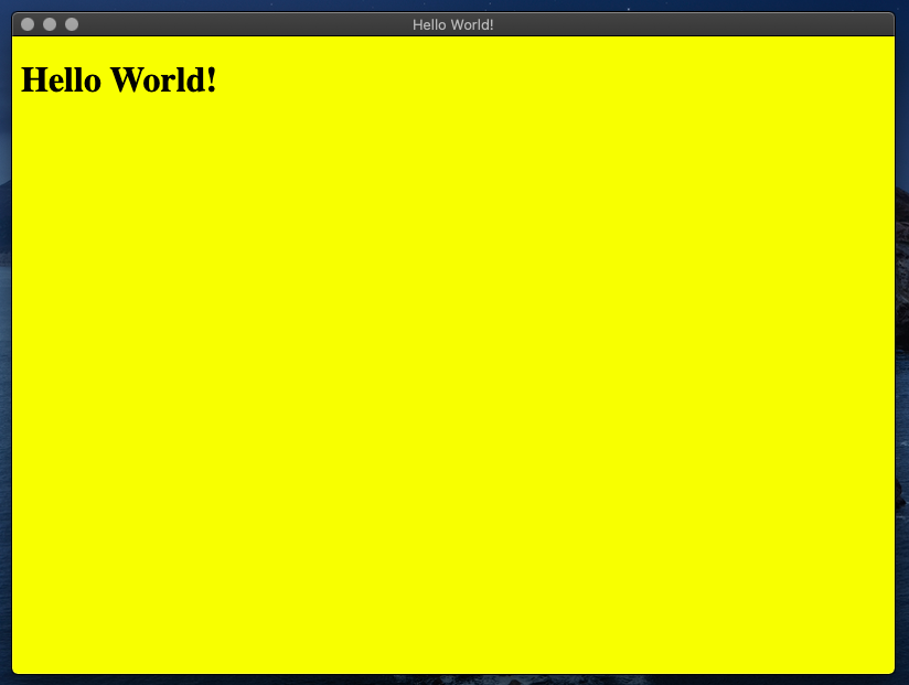 Hello world printed output window with the background color of yellow