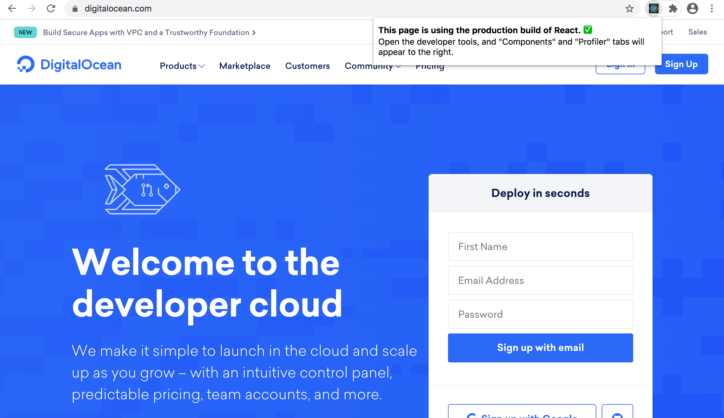 DigitalOcean React Production Build information