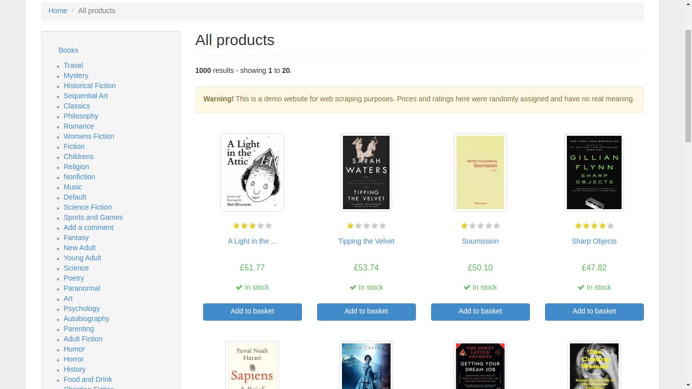 Imagen del sitio web de Books to Scrape