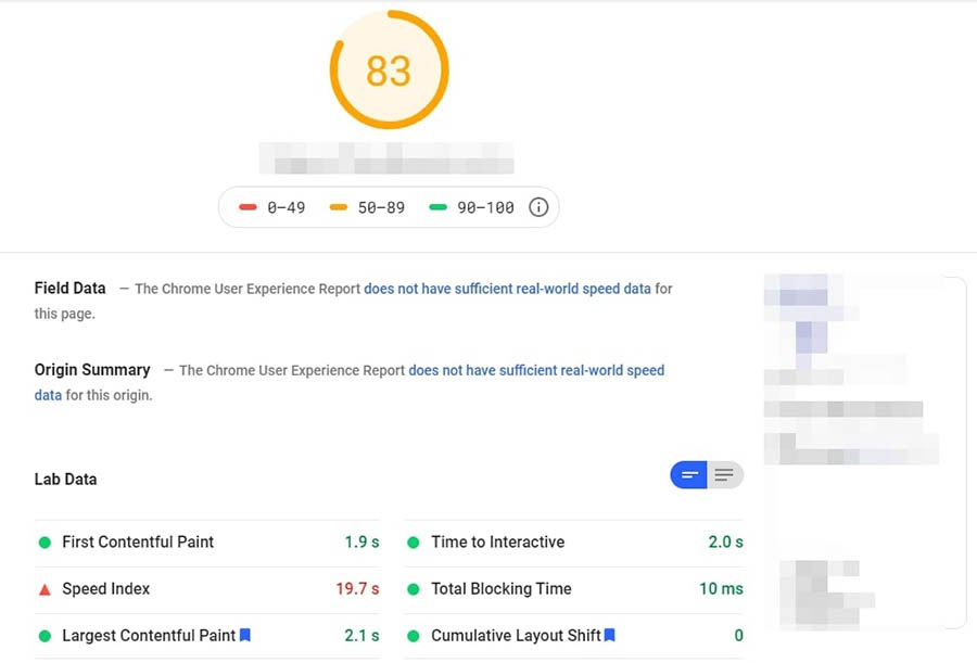 Sample results from Google's PageSpeed Insights.