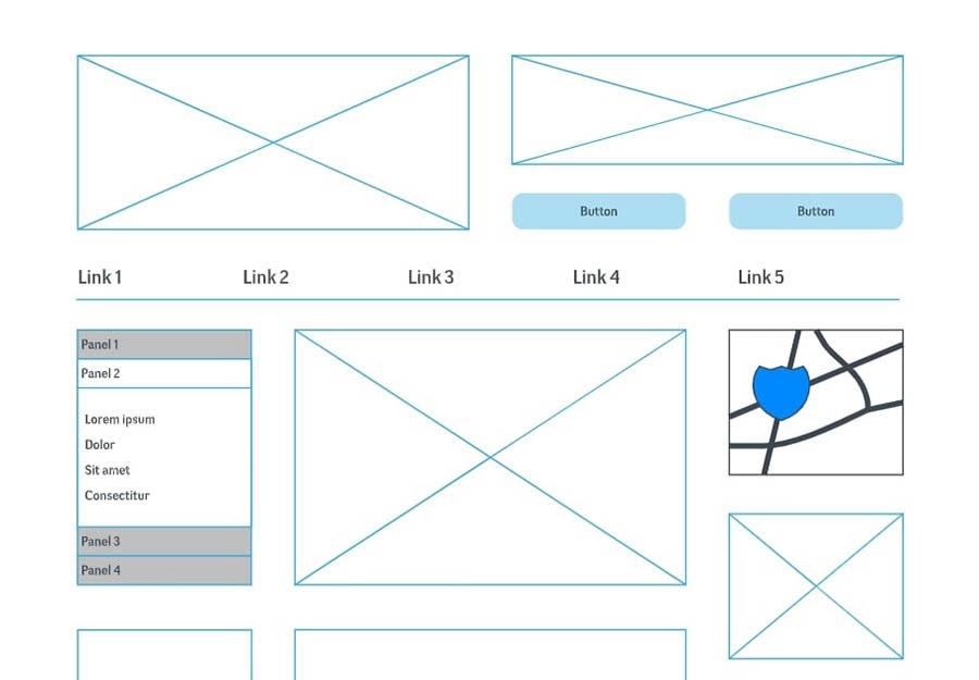 A basic wireframe for designing a website.