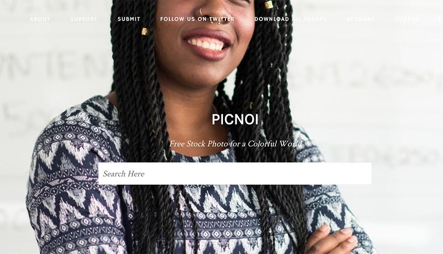 The picnoi.comhome page.