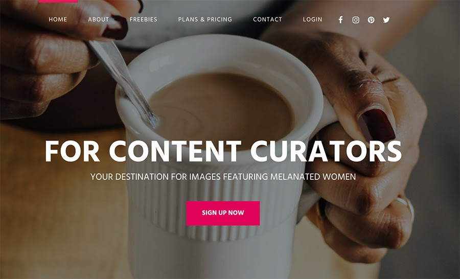 The createherstock.com home page.
