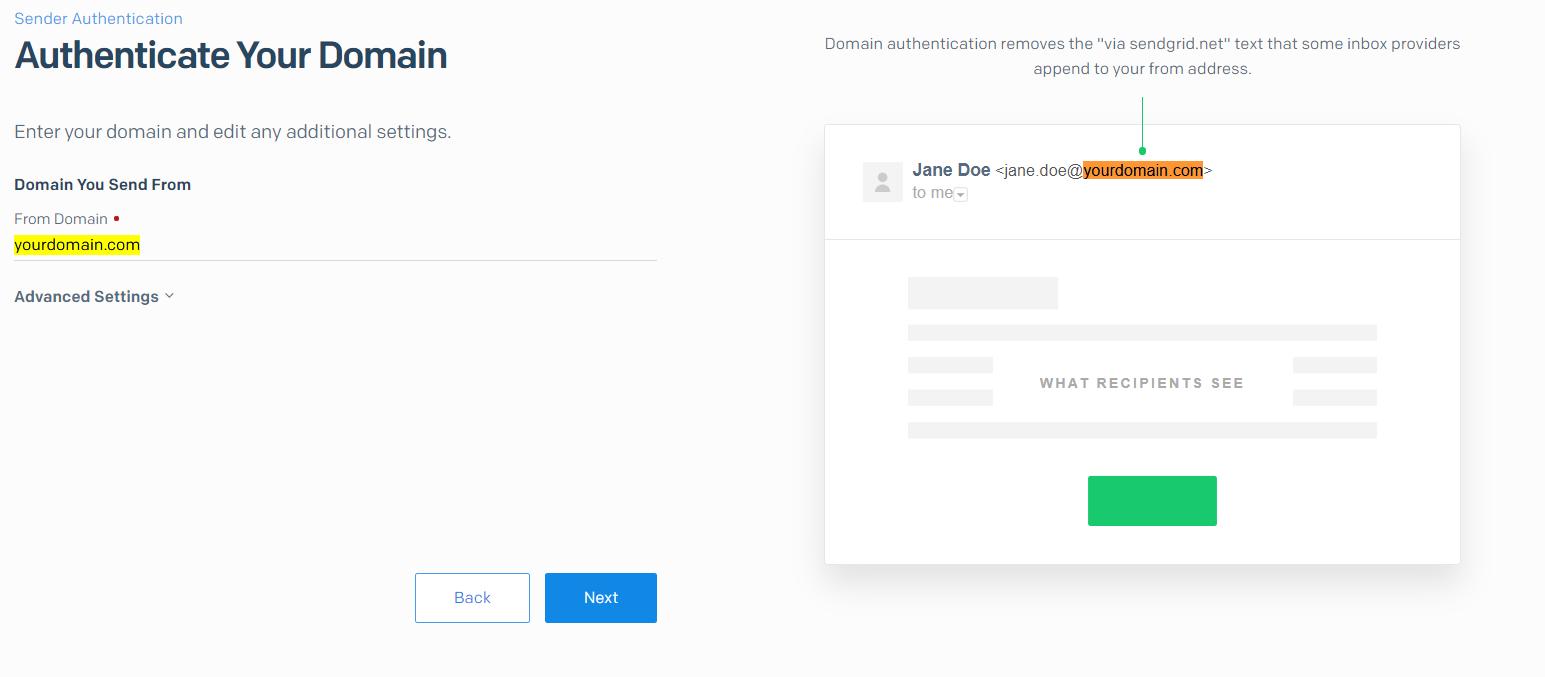 SendGrid specify your domain name