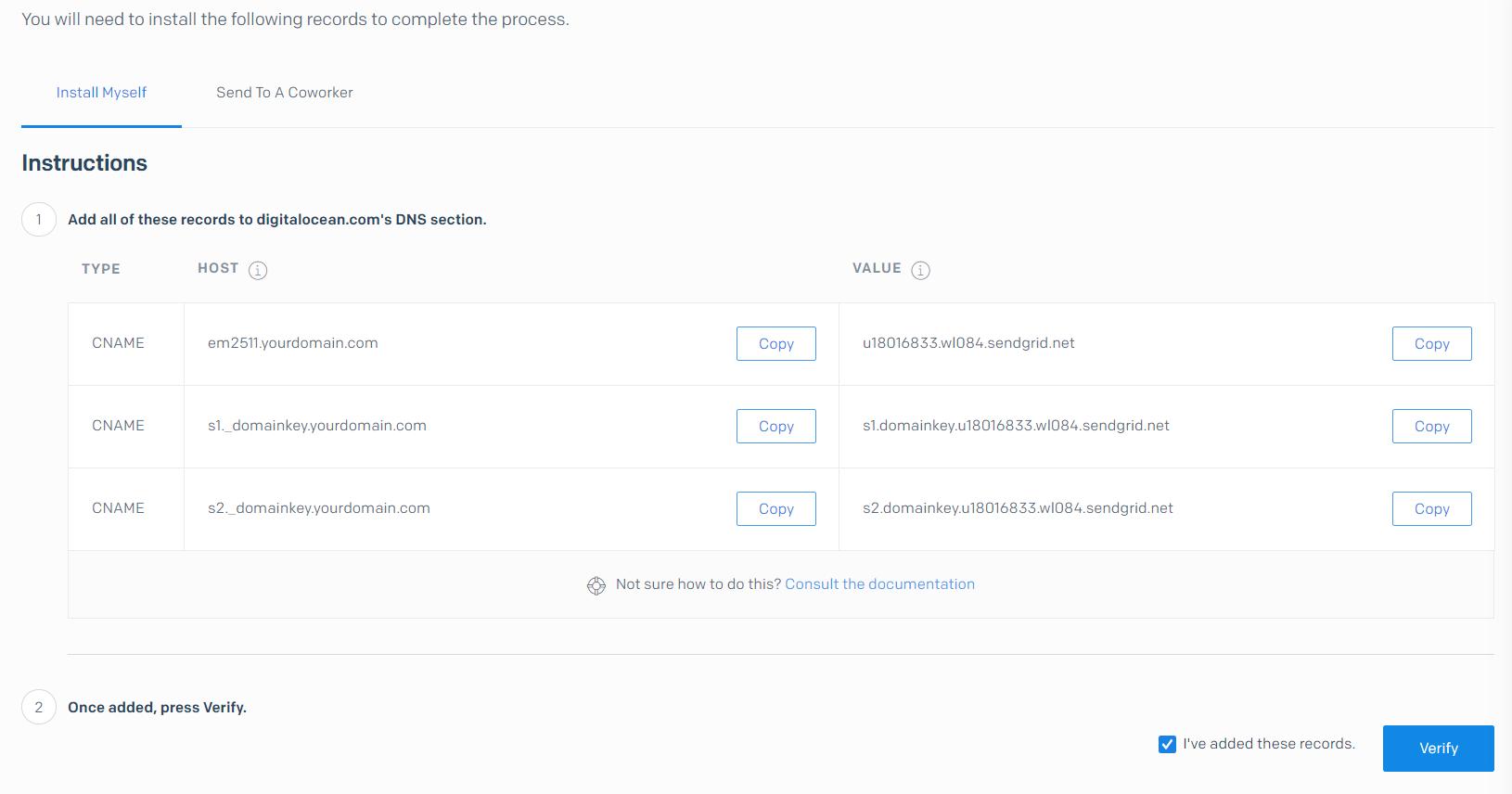 SendGrid verify DNS records