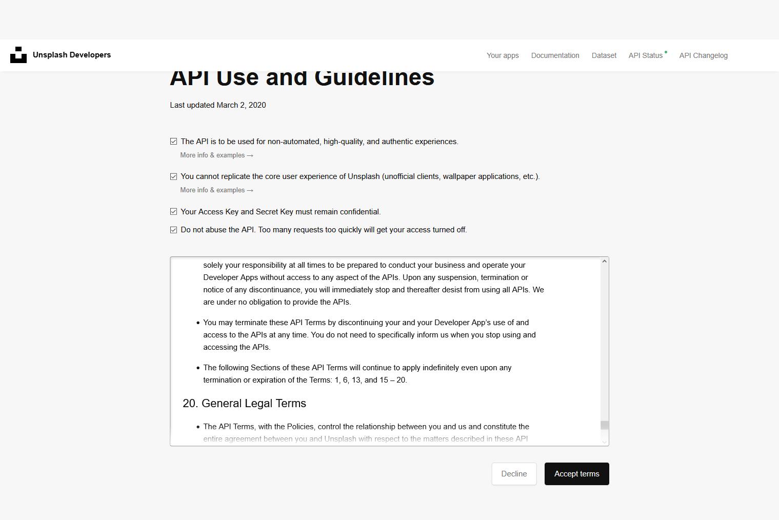 Unsplash API Use and Guidelines