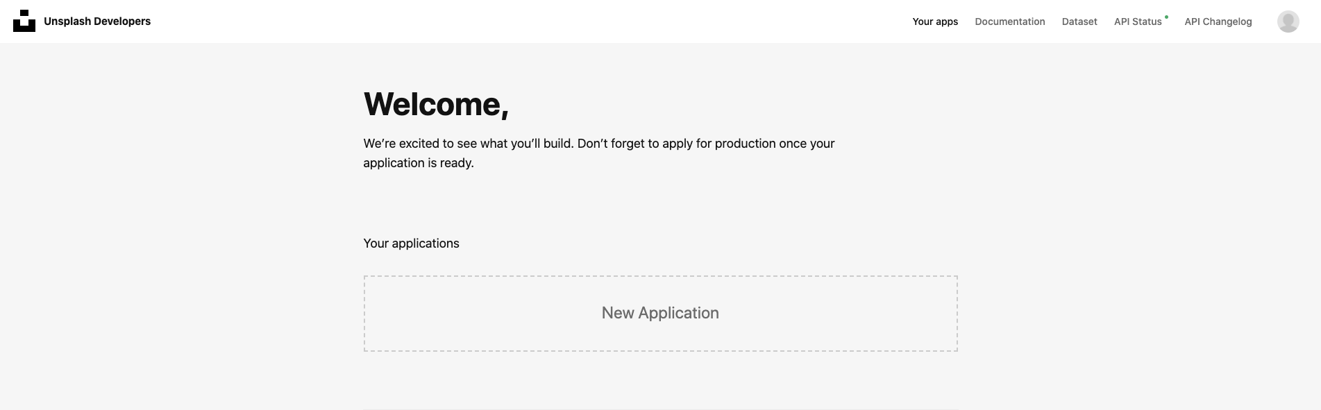 Unsplash Developer Dashboard with New Application