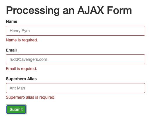 form showing validation errors