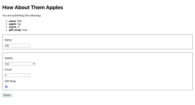 Form elements submitting correct data
