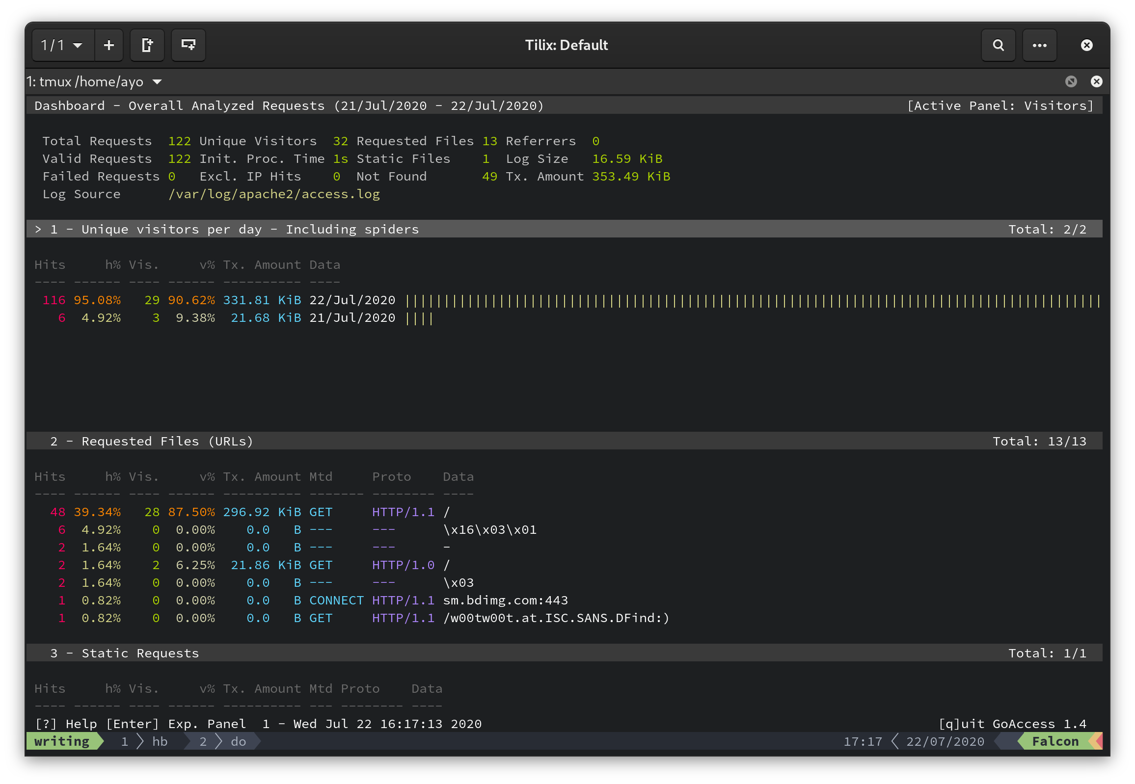 GoAccess command-line dashboard interface