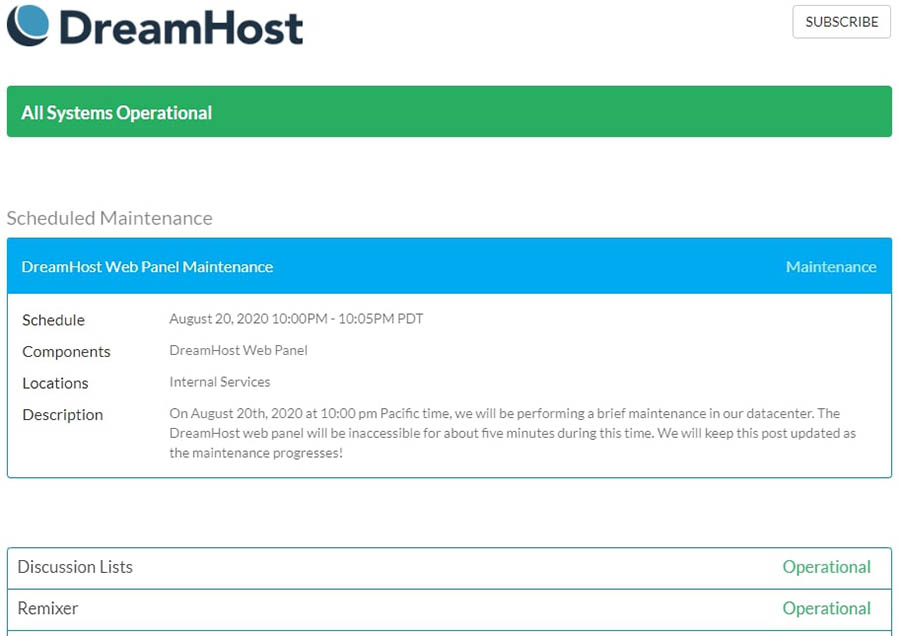 DreamHost's status page.