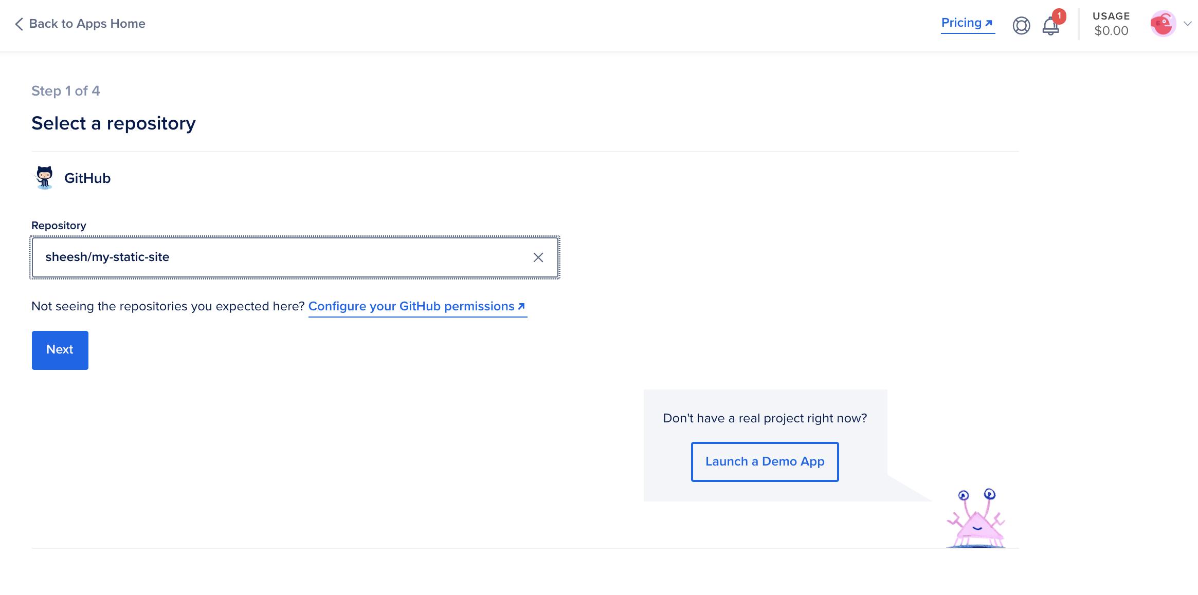 App Platform webpage displaying menu for selecting repository