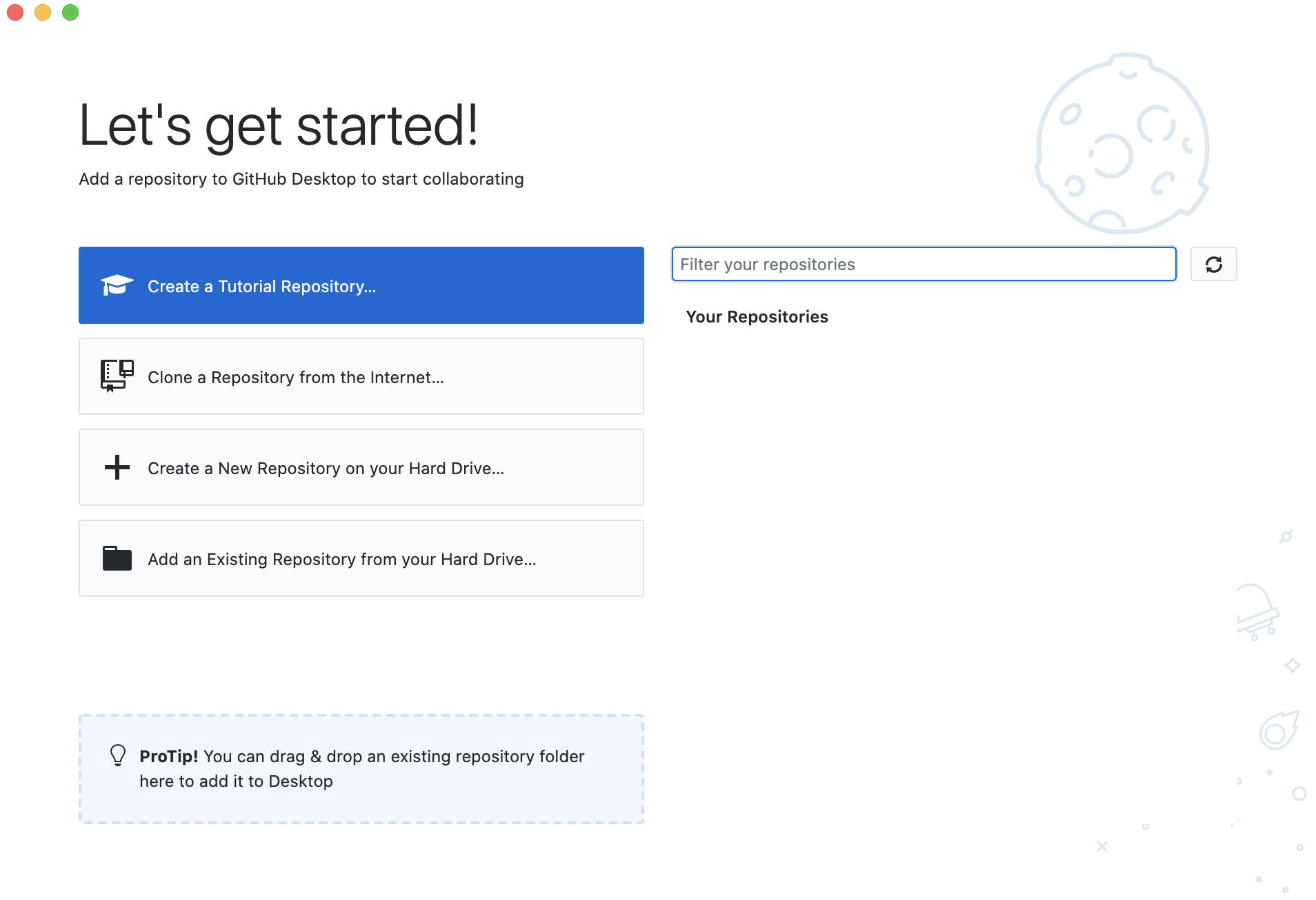 Image of GitHub Desktop window with options for creating GitHub project