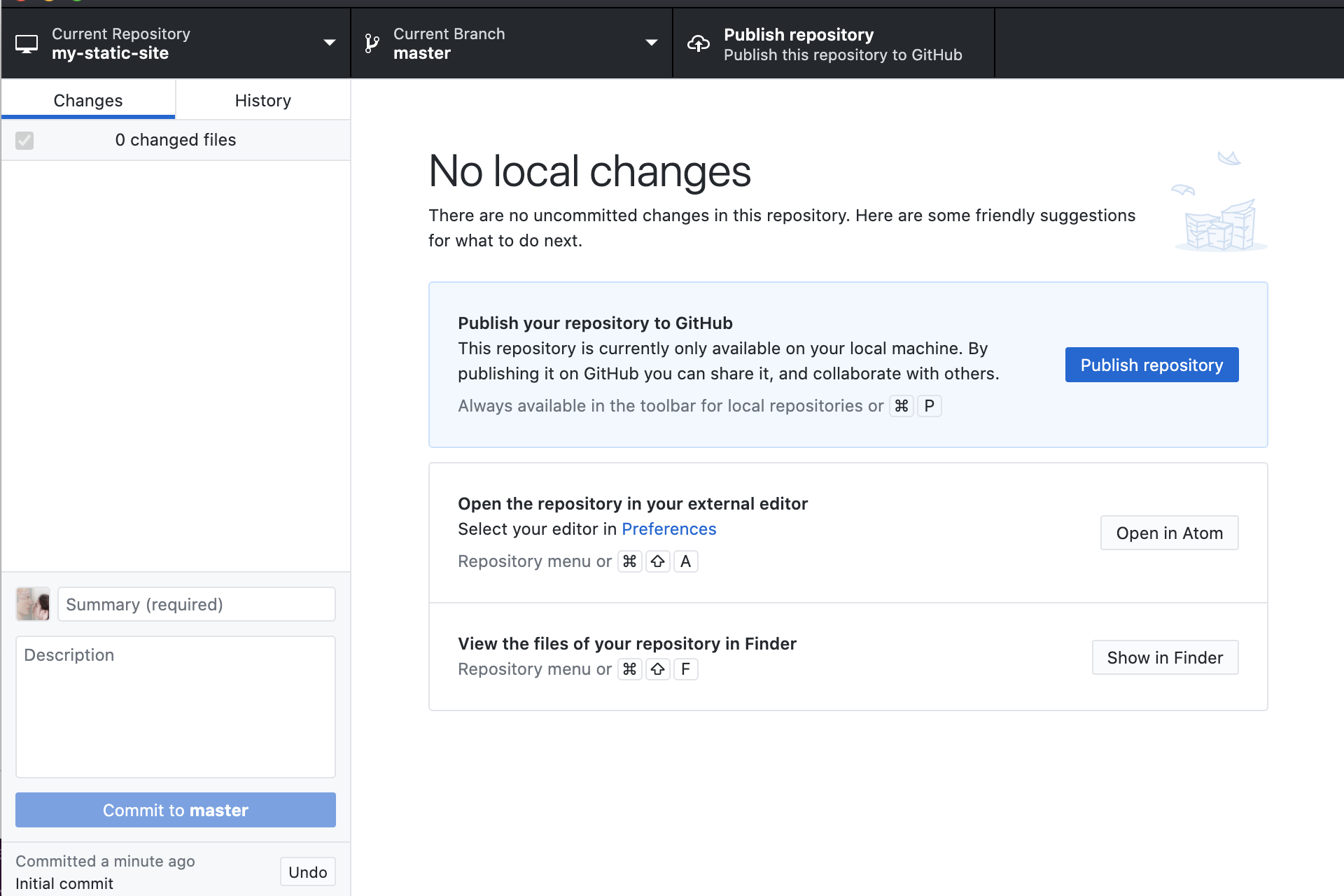 Image of newly-created repository on GitHub Desktop app