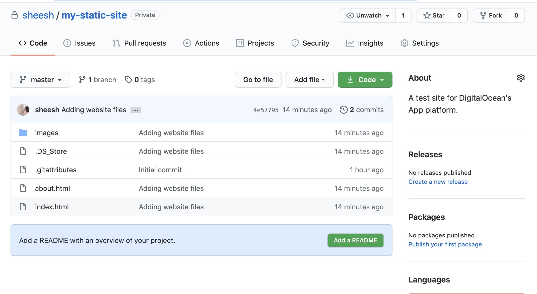 Image of repository on GitHub.com