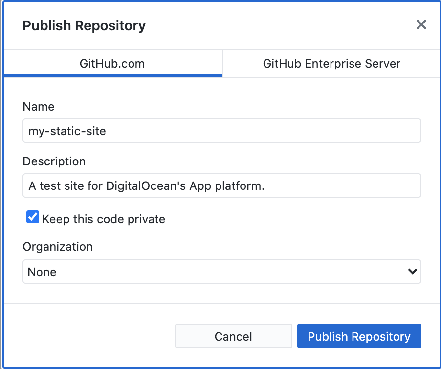Image of details for publishing the repo