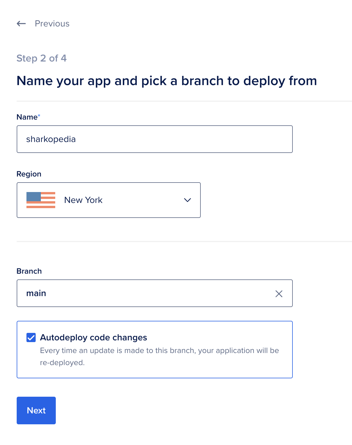 Choose name, region, and branch