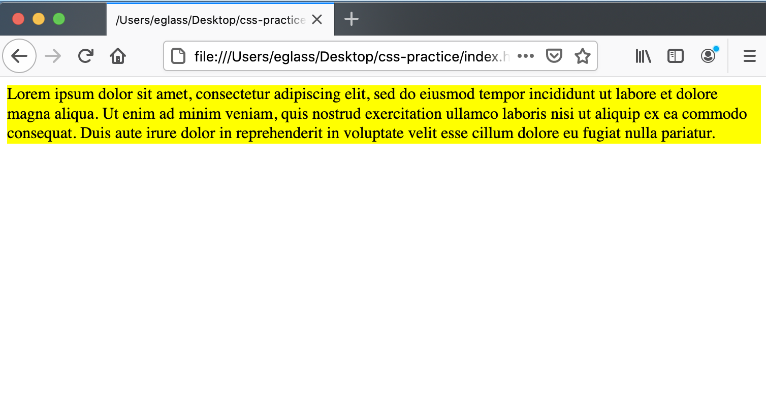 Webpage with text in yellow <div> containers