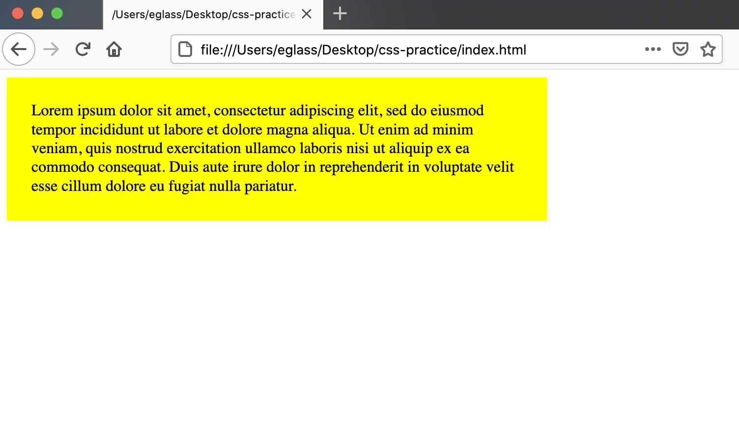 Webpage with a yellow `<div>` container with width and padding specified