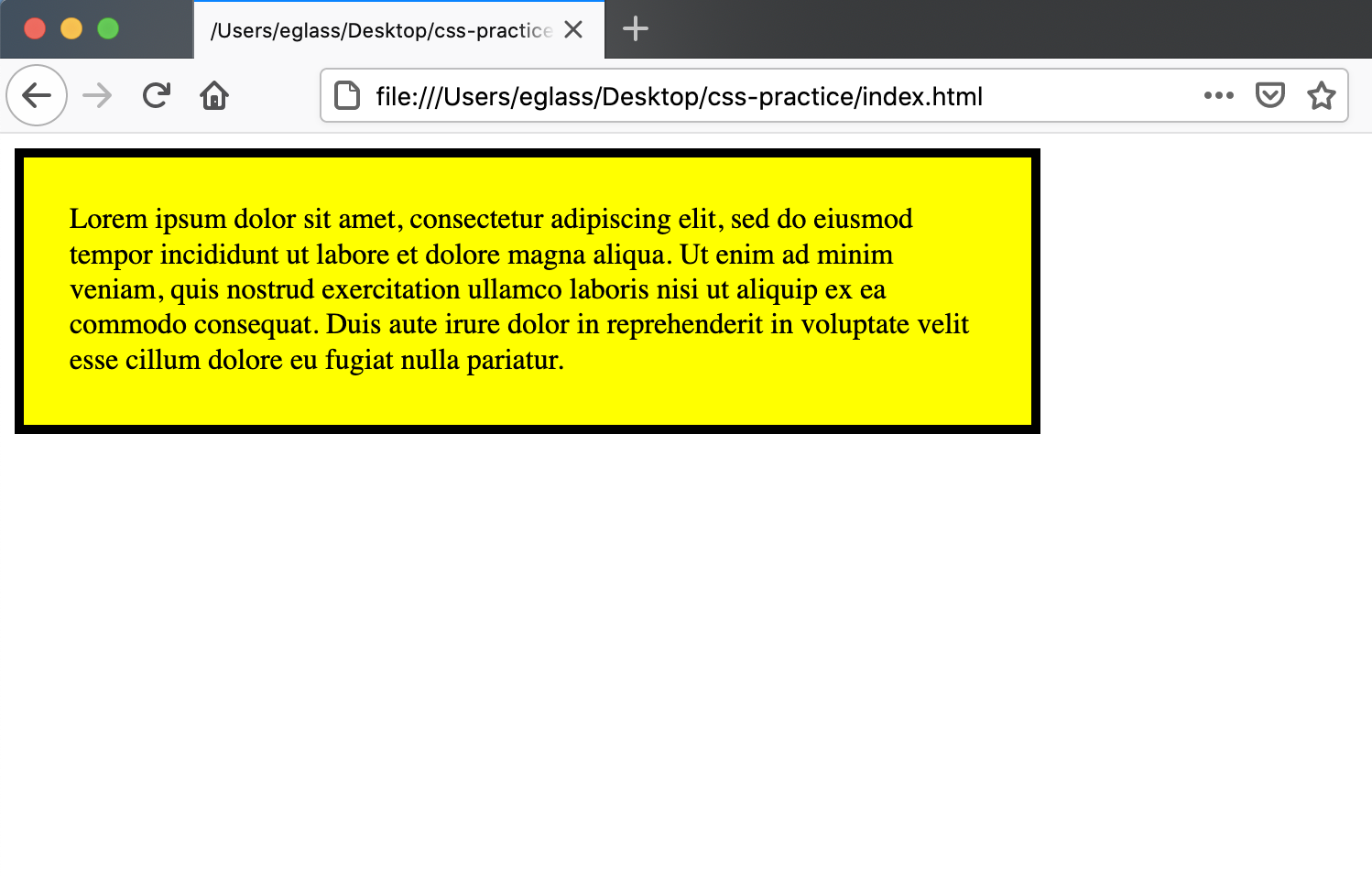 Webpage with yellow `<div>`, padding, and border