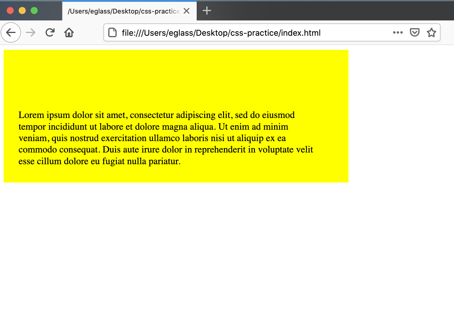 Webpage with a yellow <div> container with different padding values set for each side