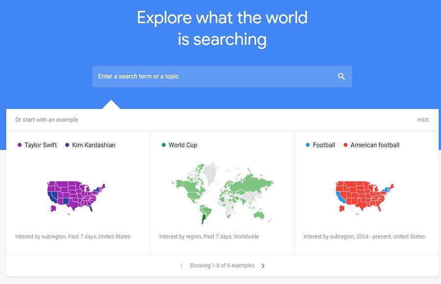 The Google Trends website.