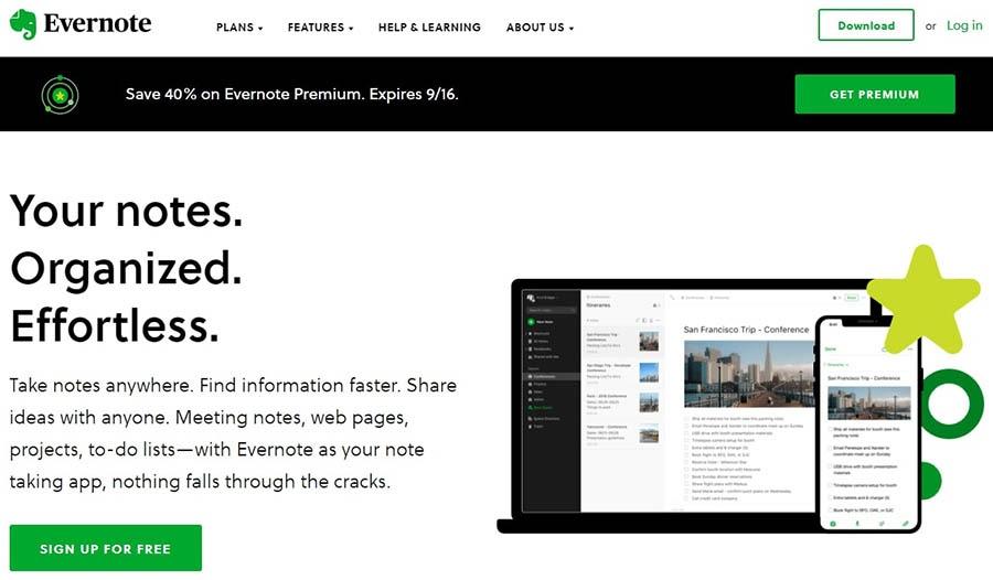 The Evernote website.