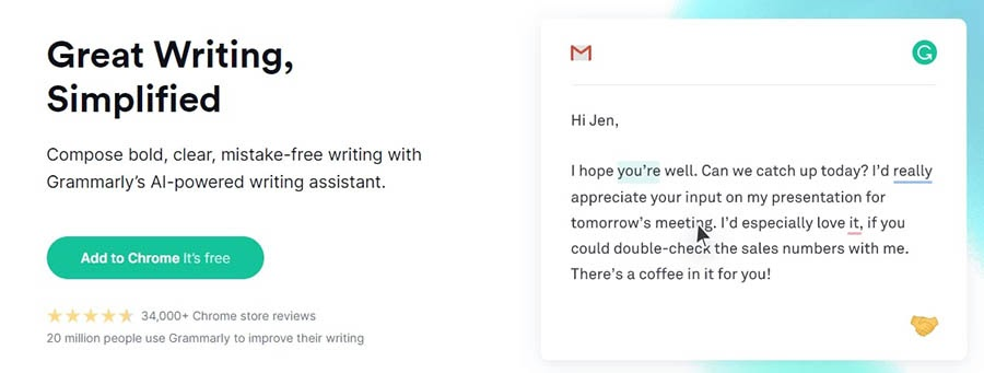 The Grammarly writing tool.