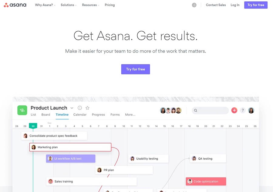 The Asana project management tool.
