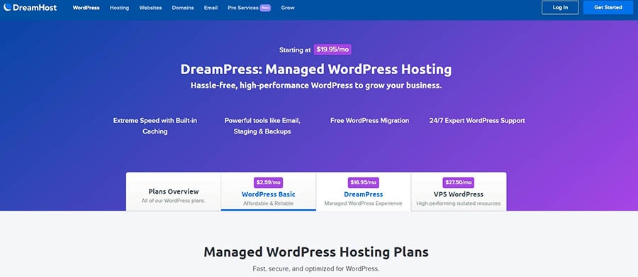 DreamHost managed WordPress hosting.