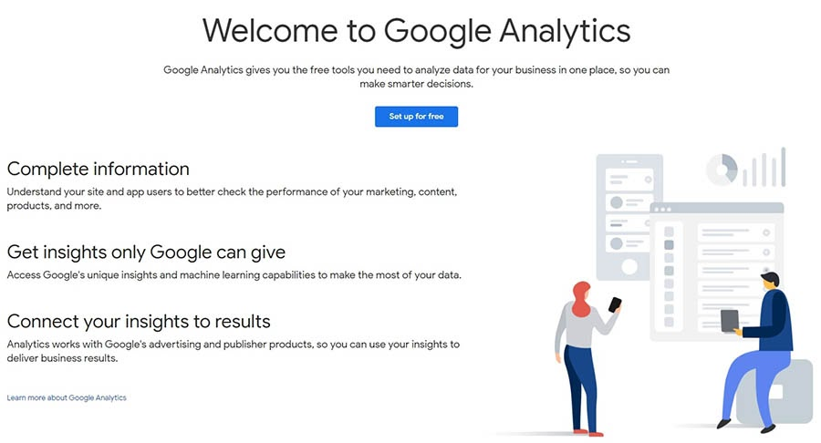 The Google Analytics website.