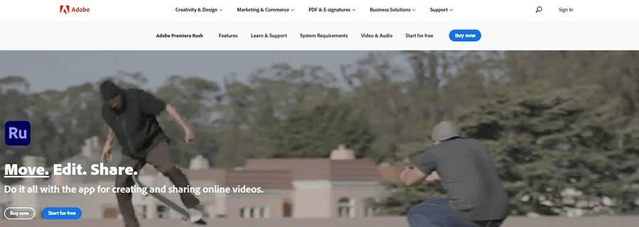 The Adobe Rush website.
