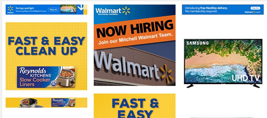 Example of walmart.com banner ads found through Sistrix.