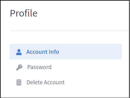 Image showing the account navigation panel