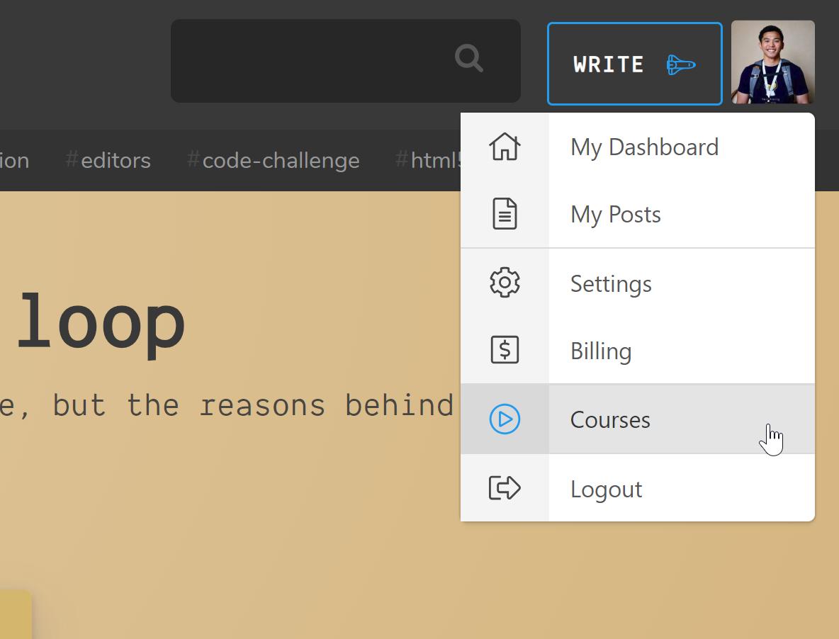 ドロップダウンメニューとハイライトされた「Courses」が表示されたスコッチウェブサイト