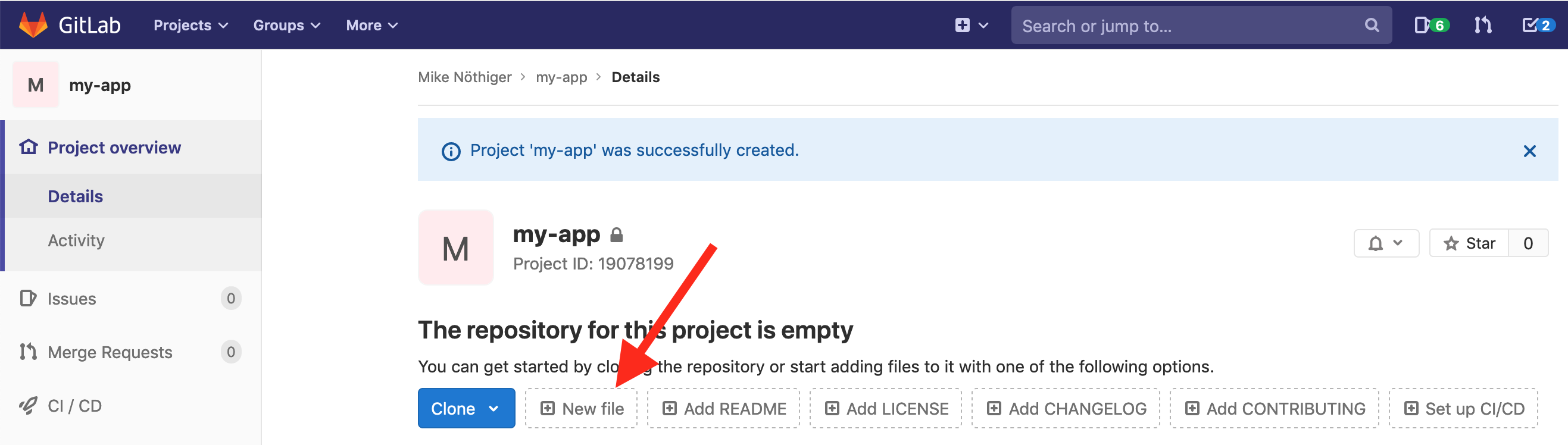 The new file button on the project overview page