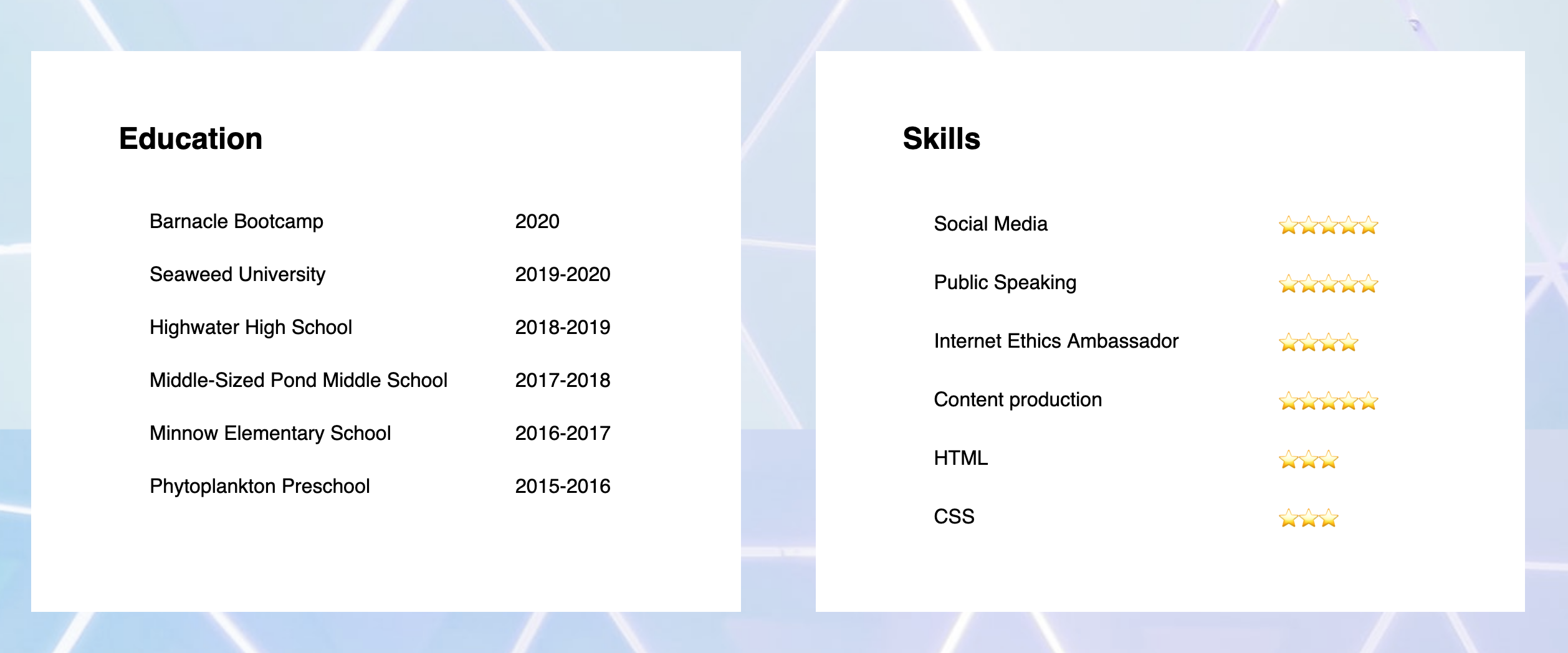 Education and Skills section of demonstration website