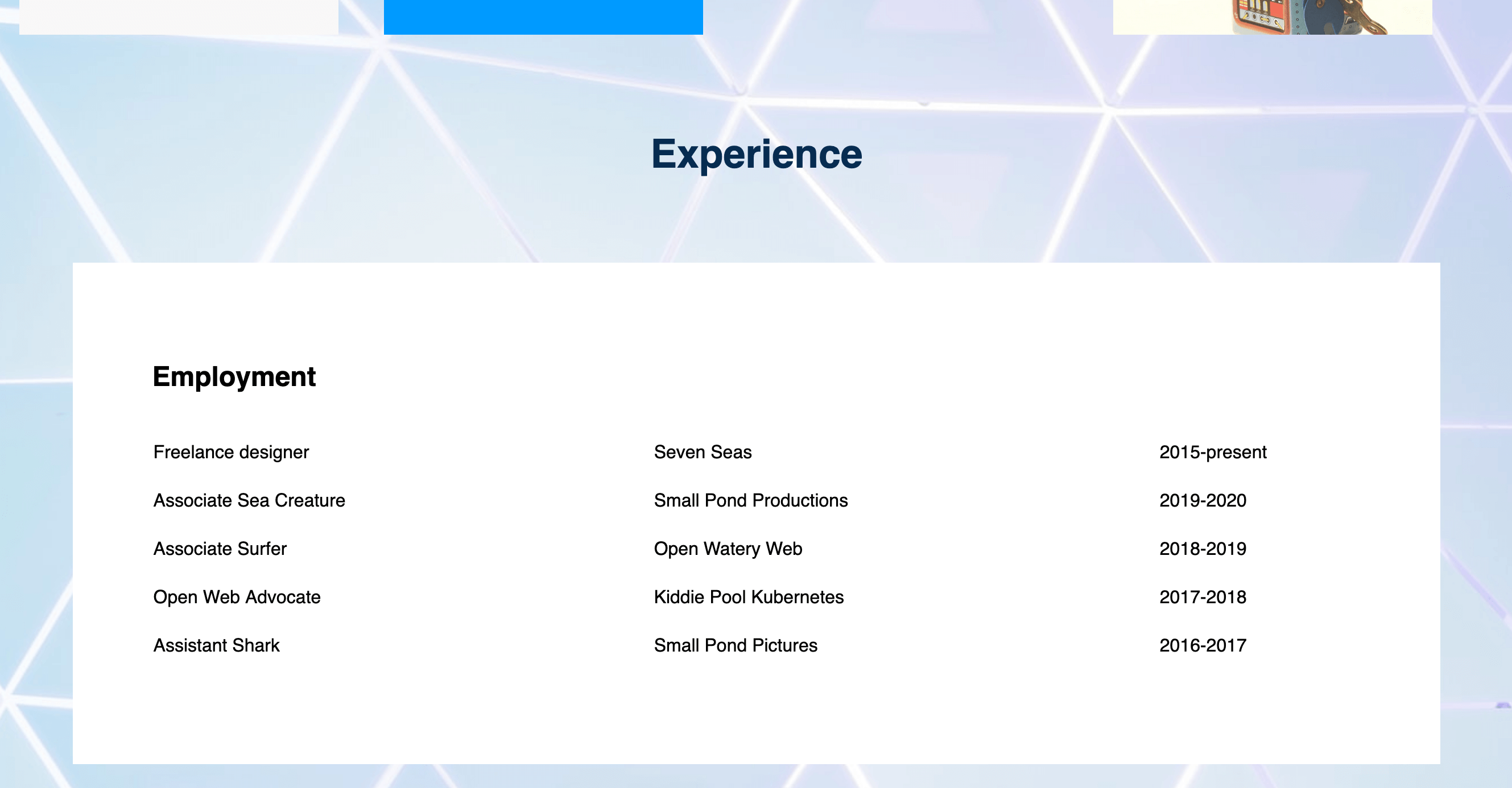 Employment section of demonstration website
