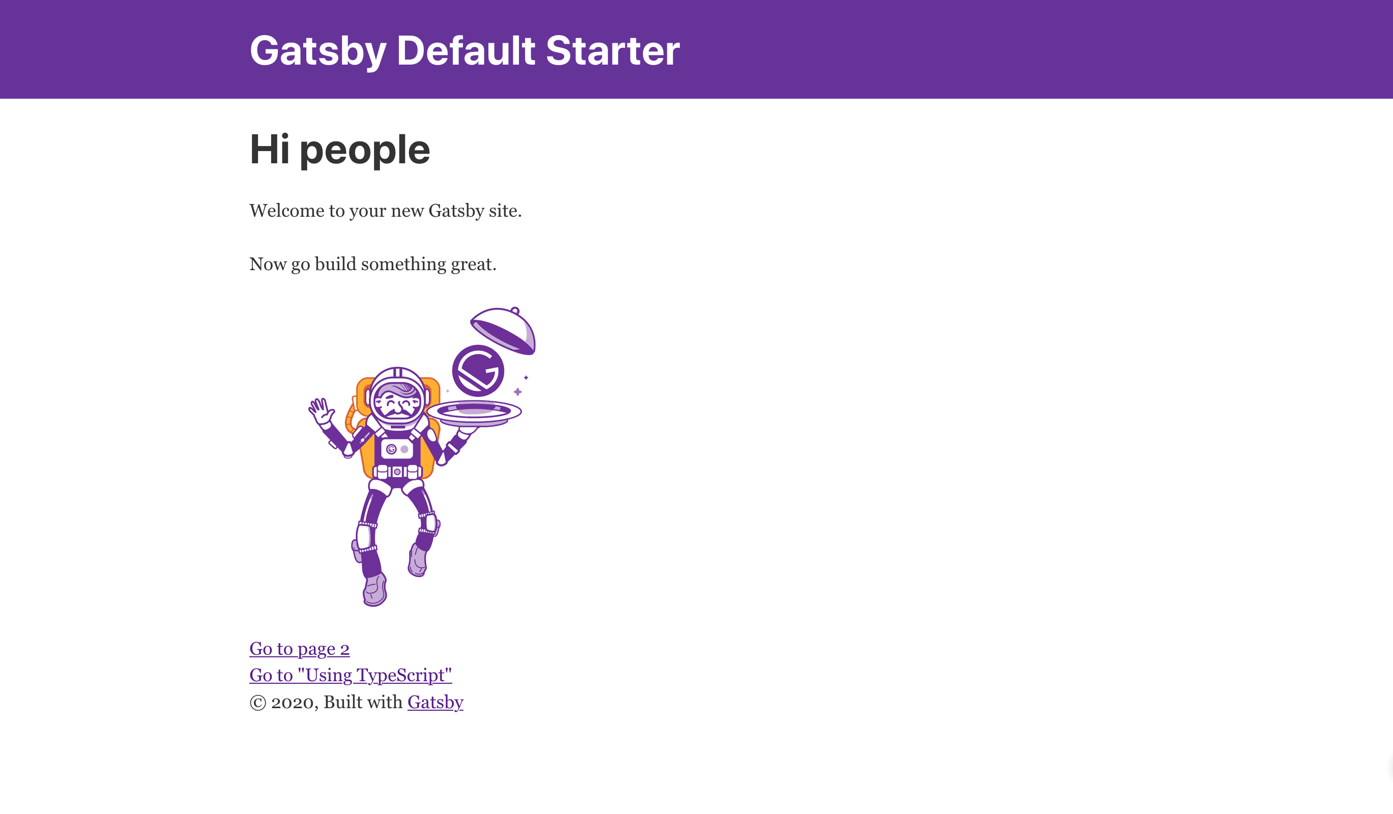 This is an image of the Gatsby homepage