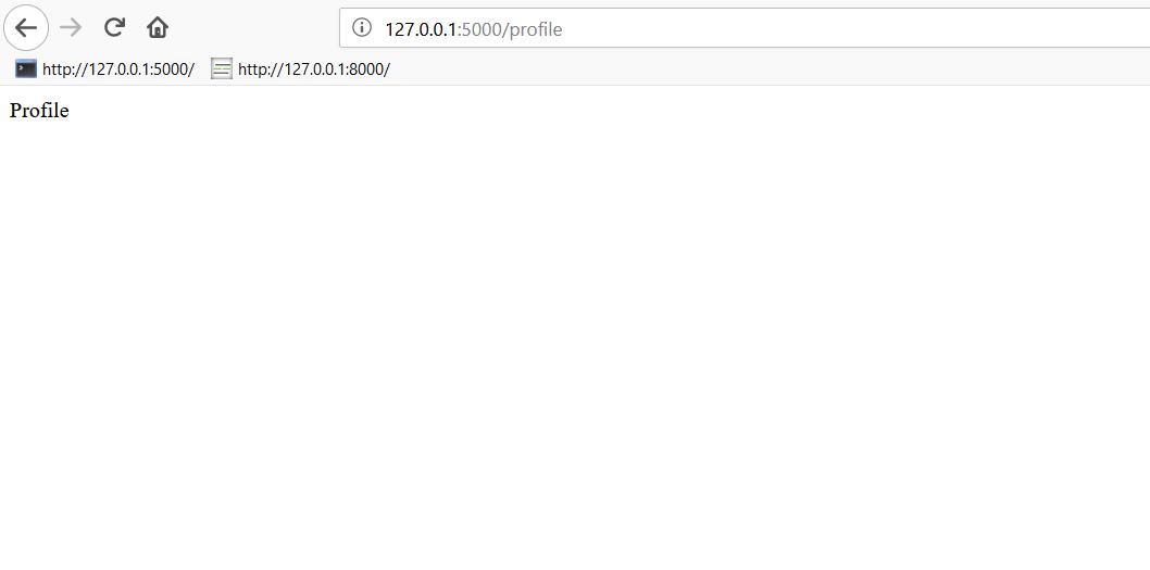 Captura de pantalla del proyecto en el puerto localhost 5000 en el navegador