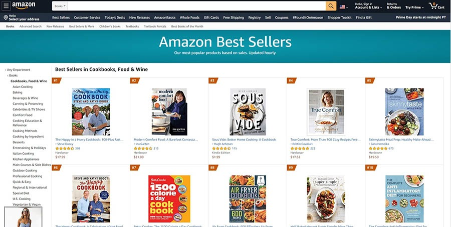 Amazon's best selling books in the cookbooks, food, and wine category