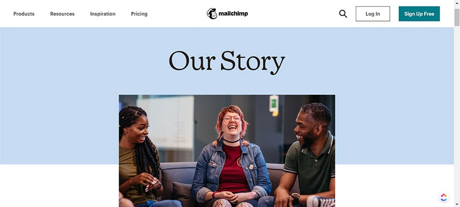 The Mailchimp About Us page.