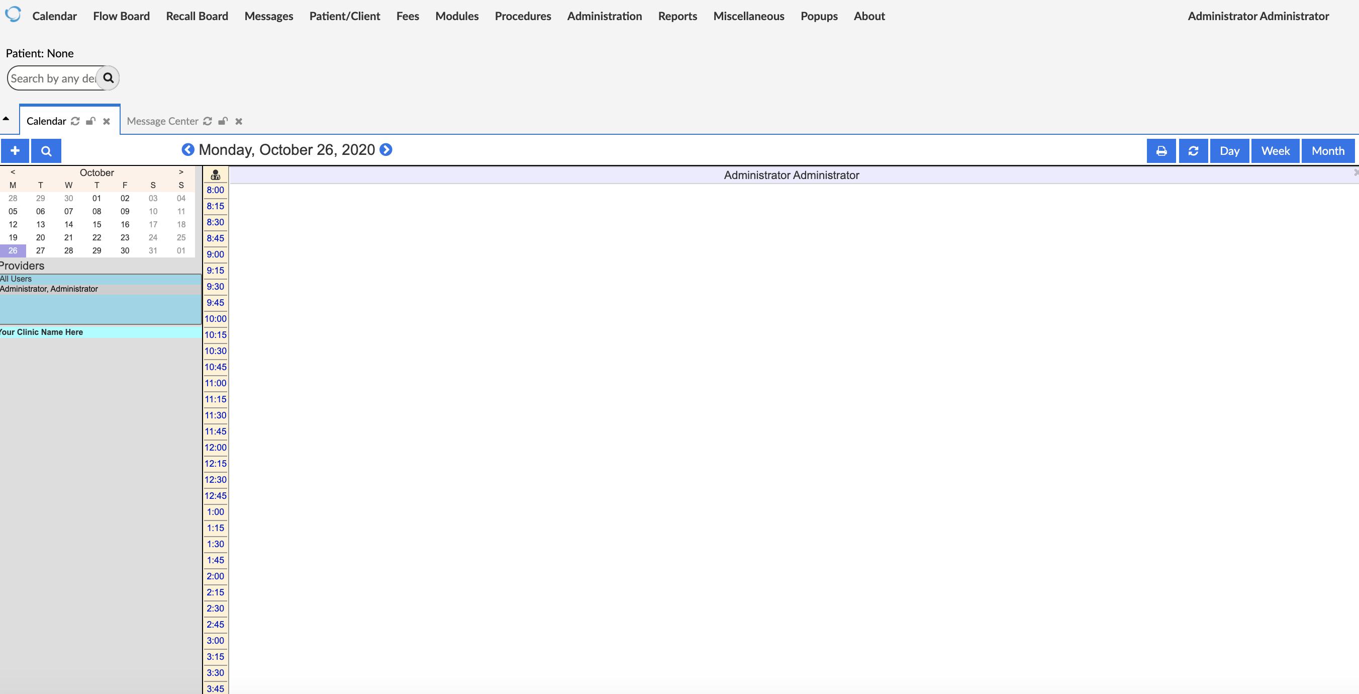 OpenEMR dashboard