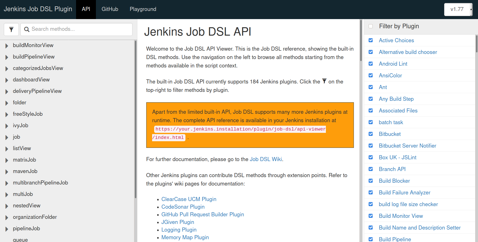 Jenkins Job DSL API Reference web page
