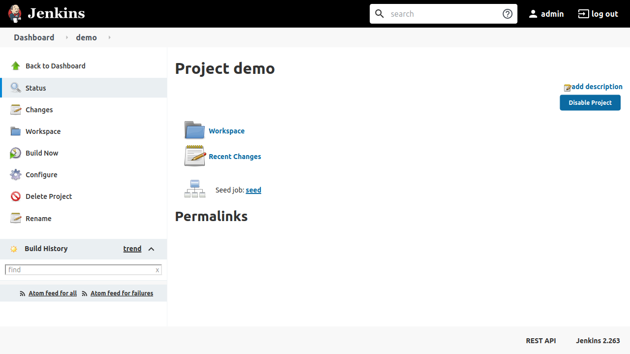 Demo job page showing a section on seed job