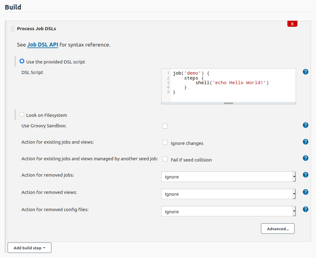 Job DSL script added to the Process Job DSLs build step