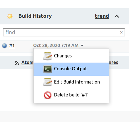 Screen showing the Console Output option selected in the dropdown for Build #1 inside the Build History box