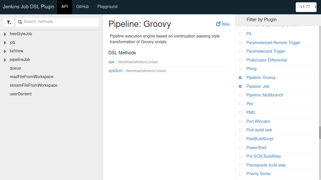 The Jenkins Job DSL API Reference page with all plugins deselected except for Pipeline: Job, and (not shown) Git and Pipeline: Groovy